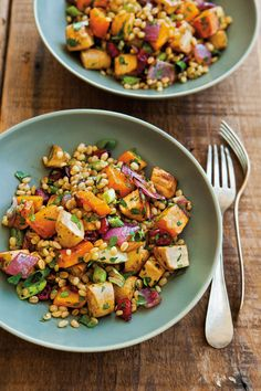 Healthy whole grains star in this colorful recipe, which pairs wheat berries -- whole wheat kernels -- and roasted root vegetables. Enjoy as a side dish for roasted meats or as a light meal on its ...