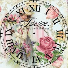 time in a bottle X ღɱɧღ Decoupage Vintage, Decoupage Paper, Vintage Paper, Vintage Art, Paper Clock, Clock Art, Diy Clock, Vintage Pictures, Vintage Images