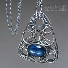 """Sabrinah's Art """"Teen Witch"""" Kyanite, Sterling and Fine Silver Wire Wrapped Necklace"""