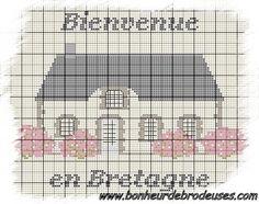 Maison - house - bretagne - point de croix - cross stitch - Blog : http://broderiemimie44.canalblog.com/