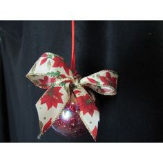 Handcrafted ornament is created with a glass ornament that is red glitter lined with a beautiful poinsettia ribbon bow and a red satin rope ribbon for hanging. Fabric Ornaments, Ball Ornaments, Handcrafted Christmas Ornaments, Red Glitter, Glass Ball, Poinsettia, Ribbon Bows, Gemstones, Holiday Decor