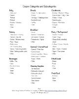 Coupon Categories And Subcategories For Organizing Coupons (2 pages)
