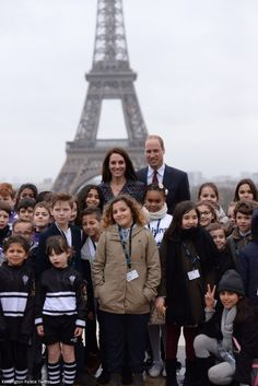 "hrhduchesskate:  Visit to Paris, February 18, 2017-The Duke and Duchess of Cambridge with local children who took part in the ""Les Voisins"" program"