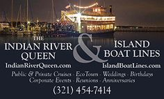 """Providing an elegant private venue for special events, weddings, dinner cruises and our popular daily """"In Search of Wildlife"""" Eco Tour. http://www.everythingbrevard.com/Entertainment/Island-Boat-Lines-Indian-River-Queen.html"""