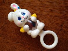 Vintage 1984 Angel Bunny and friends baby rattle by ThePinkRoom