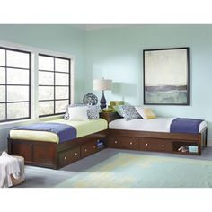 Hillsdale Furniture Pulse L-Shaped Twin Bed with Double Storage, Multiple Colors Corner Twin Beds, Bed In Corner, Two Twin Beds, Corner Unit, Hillsdale Furniture, Bedroom Furniture, Bedroom Decor, L Shaped Twin Beds, Trundle Bed With Storage