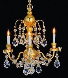 Lighting The Little Doll House In 2020 Crystal Chandelier Dollhouse Chandelier Chandelier