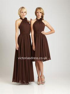 Sheath/Column High Neck Chiffon Chocolate Bridesmaid Dresses With Ruffles