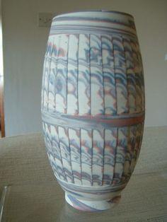 Agateware pottery vase by David Hewitt, Newport, S Wales