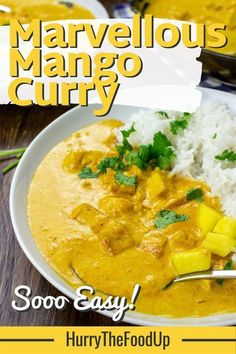 This virtually vegan mango curry from HurrytheFoodUp is refreshing, tropical, super-quick, and soooooo easy! Don't miss out on this one! This dish has the perfect mix of sweet and savory, and is delicious served with rice or naan bread! #recipe #mango #dinneridea #quick #easy #vegetarian #curry