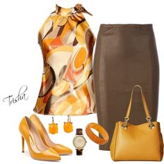 A fashion look from May 2016 featuring brown skirt, black heeled shoes and handbags totes. Browse and shop related looks. Classy Outfits, Chic Outfits, Fashion Outfits, Womens Fashion, Fashion Trends, Workwear Fashion, Work Fashion, Fashion Looks, Fashion Fashion