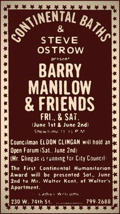 1973 Barry Manilow Continental Baths poster