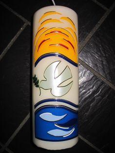 Taufkerzen - Kerze mit Taube,Sonne und Wasser - christl.Fest - ein Designerstück von Kerzenschmuck bei DaWanda