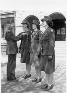 Fort Hancock WACs receive good conduct medal outside Barracks 25, 1944.