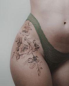 Art tattoos, cute tattoos on thigh, rose tattoo thigh, tattoo on hip, Flower Hip Tattoos, Rose Tattoo Thigh, Flower Tattoo Drawings, Beautiful Flower Tattoos, Pretty Tattoos, Cute Tattoos, Leg Tattoos, Body Art Tattoos, Girl Tattoos