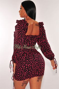 Refine your inner chic with this black pink petals print dress. Designed with a ruffle peasant neckline, long sleeves and a ruched design. Lace Up Back Dress, White Long Sleeve Dress, Black Tank Dress, Bell Sleeve Dress, Dress Backs, Dress P, Sequin Midi Dress, Strapless Midi Dress, Ruched Dress