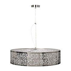 Suspension Coral by Lucide coton gris ou noir hauteur réglable