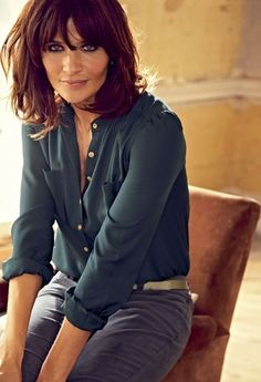 Helena Christensen blunt bob with a soft fringe, great for the winter.