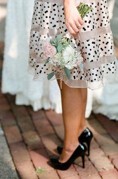 Polka Dot Wedding Inspiration: Fun and Fabulous! Polka Dot Bags, Polka Dots, Bridesmaid Flowers, Bridesmaid Dresses, Bridesmaids, Polka Dot Wedding, Wedding Photography Poses, Casual Chic Style, Skirts