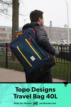 The Topo Designs Travel Bag offers some great organization in a classic heritage style, although we think the harness system is less than optimal. Best Travel Backpack, Travel Bags, Osprey Farpoint, Packing Cubes, Daisy Chain, One Bag, Bag Making, Sling Backpack, Carry On