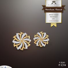 Moonbeam floweret ‪#‎earrings‬ have been in demand since the day we launched them. 5% #cashback now -  #gold #diamond #shopping #india #lifestyle #style #freeshipping #gift #bestseller #womenjewelry