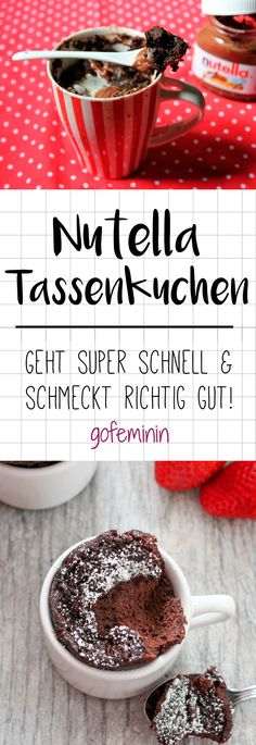 Geniales Rezept: Nutella-Kuchen aus der Mikrowelle - Nutella-Tassenkuchen – hier geht's zum einfachen Rezept! Diy Nutella, Nutella Snacks, Nutella Mug Cake, Nutella Muffins, Nutella Cookies, Nutella Recipes, Cookie Recipes, Dessert Recipes, Food Cakes