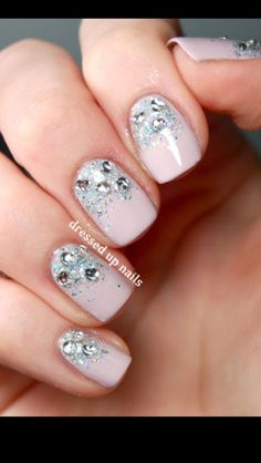 Sparkling wedding nails // image + nail art by Dressed Up Nails #DressUpPartyDown