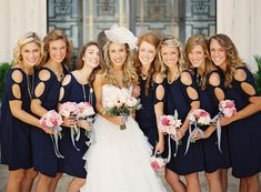 Navy blue and pink tones. Also like the smaller flower bouquets