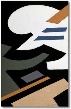 Silvano Bozzolini - Composizione - 1955 - Tempera e collage su cartone, 55,8 x 37,8 cm.