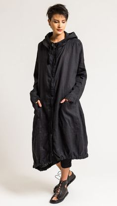 $460.00 | Rundholz Black Label Oversized Elastic Hem Long Jacket in Black | Rundholz is world-renowned for creating fashion that combines innovative designs, unconventional details, and experimental fabric treatments for a distinctly independent look. The clothing from Black Label uses everyday fabrics, streamlining the more avant-garde Rundholz style. This variety of easy-going and approachable looks makes the collection accessible to women of all style tribes.