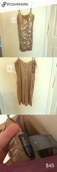 Golden party dress Spandex , spaghetti strap bisou bisou golden dress. Bisou Bisou Dresses Midi