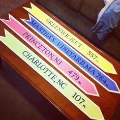 cute idea to do for a apartment. do each hometown for each roommate!