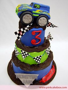 "My (almost) 5 year old daughter wants a monster truck birthday cake like this. BUT she wants it to be more ""girly"" with a pink monster truck, bows, pearls, diamonds, and cheetah print! I need to know who can pull this off!"