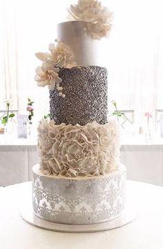 modern metallic silver and white wedding cakes