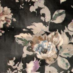 Møbelvelour mørk grå m blå/lilla roser