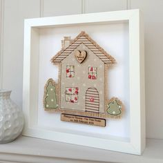 Handmade Fabric House New Home First Home Picture by Little Foundry, the perfect gift for Explore more unique gifts in our curated marketplace. Diy Quilting Frame, Hand Quilting, Quilting Projects, Freehand Machine Embroidery, Free Motion Embroidery, Embroidery Cards, First Home Gifts, New Home Gifts, First Home Pictures