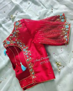 Every dress has a story! Designer boutique in MVP colony Contact us - Blouse Back Neck Designs, Hand Work Blouse Design, Stylish Blouse Design, Aari Work Blouse, Pattu Saree Blouse Designs, Designer Blouse Patterns, Fancy Blouse Designs, Bridal Blouse Designs, Sari Design