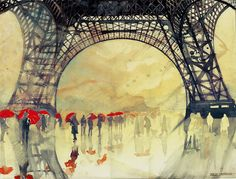 Architect and freelance illustrator Maja Wrońska (previously) continues to amaze with her beautifully executed watercolor paintings of iconic cityscapes from around the world. From London and Paris to Prague and even Disney Land, the Polish artist Art And Illustration, Paris Kunst, Art Parisien, Framed Art Prints, Canvas Prints, Canvas Art, Paris Canvas, Colossal Art, Art Design