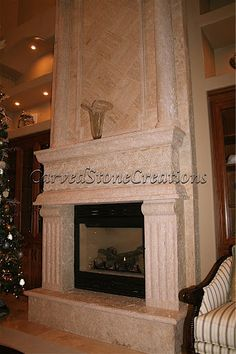 This travertine fireplace design is the focal point of this living room. Click on the picture to view more natural stone fireplace designs. #Design #Fireplace #Home #Decor