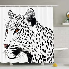 Tattoo The Head of Magnificent Rare White Tiger with Ocean Blue Eyes Image Shower Curtain Set