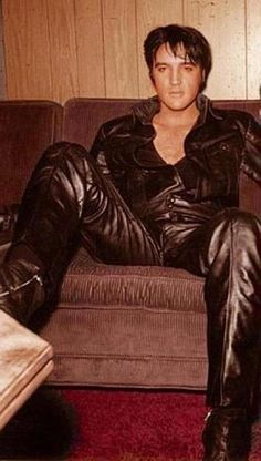 "Elvis Presley...KIcking Back After The ""68 Comeback Special"" in His Famous Leather Suit....Elvis Dieted 6 Months For This Rare TV Special..."
