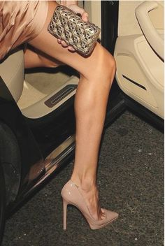 Looking for a trick to make your bare legs look a little longer?  Try nude pumps to give this illusion.