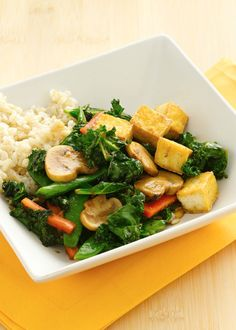 Stir-fry is a quick-cooking technique that brings out the best in fresh vegetables. Try this dish starring kale, sugar snap peas, carrots and mushrooms for a deliciously easy meatless Monday dinner.
