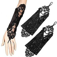 AmelieDress Women's Sequins Lace Wedding Gloves for Bride Black Fingerless Evening Party Gloves (FBA)