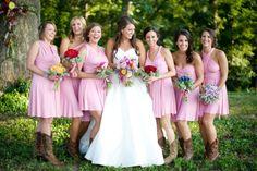 Short Bridesmaid Dress: pink chiffon gown