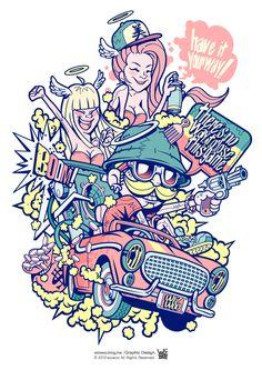 Mustache by wiz choi, via Behance Portrait Illustration, Character Illustration, Graphic Design Illustration, Rock Poster, Graffiti Wall Art, Graph Design, Lowbrow Art, Doodle Art, Cartoon Art