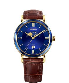 Choose Magno if you love the look of high-end men's watches at an affordable price. This moon phase watch brings extra detail to the vibrant cobalt blue dial and allows you to follow the lunar cycle. Yellow-gold hour hands and Roman numerals look great against the 40mm case, blue bezel and rich-brown leather strap. This Swiss made mens watch is classy and affordable, the perfect gift for him. #Jowissa #Swissmade #menswatch Perfect Gift For Him, Great Gifts For Men, Gents Watches, Watches For Men, Swiss Made Watches, Roman Numerals, Watch Case, Stainless Steel Case, Brown Leather