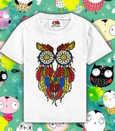 Owl baby t-shirt printed in cotton Owl gift Owl print Owl