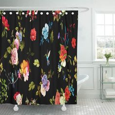 Colorful Shower Curtain, Black Abstract, Bathroom Shower Curtains, Beautiful Space, Peonies, Birds, Rose, Bathroom Ideas, Fabric