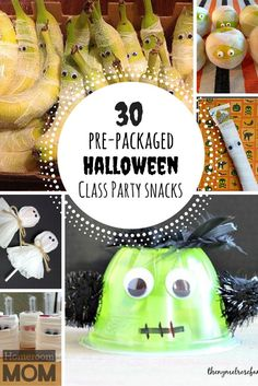 30 pre-packaged and store-bought Halloween classroom party snack ideas! | http://HomeroomMom.com
